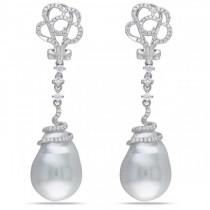 Freshwater Baroque Pearl Flower Earrings 14k W Gold (14.5-15mm 0.50ct)
