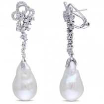 Baroque Freshwater Pearl Flower Earrings 14k W Gold (13-13.5mm 1.00ct)