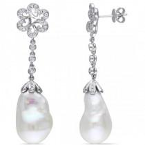 Freshwater White Pearl Flower Earrings 14k W Gold (13-13.5mm 0.50ct)
