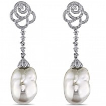 White Freshwater Pearl Flower Drop Earring 14k W Gold 13-13.5mm 1.00ct