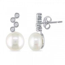 Diamond Button Pearl Drop Earrings 14k White Gold 8-8.5mm (0.12ct)