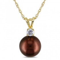 Brown Tahitian Pearl Solitaire Pendant Necklace 14k Yellow Gold 8-9mm