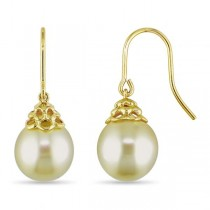Yellow South Sea Pearl Shepherd Hook Earrings 14k Yellow Gold 10-11mm