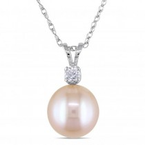 Pink Freshwater Pearl Solitaire Pendant Necklace 14k White Gold 9-9.5mm