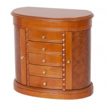 Wooden Jewelry Box, Burlwood Walnut Finish. Dresser Top Jewel Chest