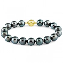Ladies AAA Black Tahitian Pearl Bracelet 7.5 Inch 14k Gold Clasp 8-9mm|escape