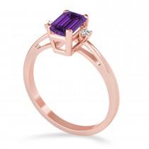 Amethyst Emerald Cut Three-Stone Ring 14k Rose Gold (1.04ct)
