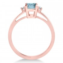 Aquamarine Emerald Cut Three-Stone Ring 14k Rose Gold (1.04ct)