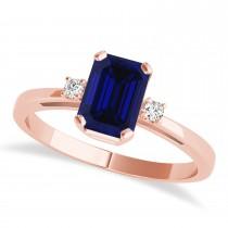 Blue Sapphire Emerald Cut Three-Stone Ring 14k Rose Gold (1.04ct)