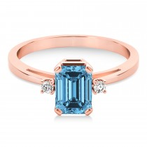 Blue Topaz Emerald Cut Three-Stone Ring 14k Rose Gold (1.04ct)