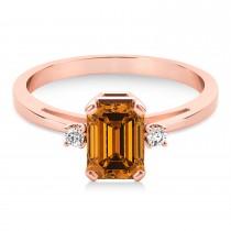 Citrine Emerald Cut Three-Stone Ring 14k Rose Gold (1.04ct)