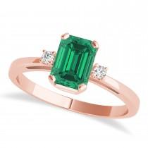 Emerald Emerald Cut Three-Stone Ring 14k Rose Gold (1.04ct)