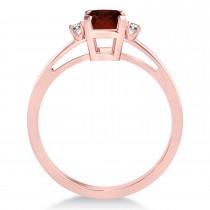 Garnet Emerald Cut Three-Stone Ring 14k Rose Gold (1.04ct)