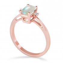 Opal Emerald Cut Three-Stone Ring 14k Rose Gold (1.04ct)