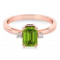Peridot Emerald Cut Three-Stone Ring 14k Rose Gold (1.04ct)