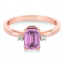 Pink Sapphire Emerald Cut Three-Stone Ring 14k Rose Gold (1.04ct)