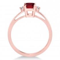 Ruby Emerald Cut Three-Stone Ring 14k Rose Gold (1.04ct)