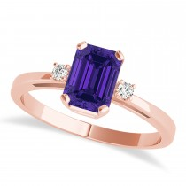 Tanzanite Emerald Cut Three-Stone Ring 14k Rose Gold (1.04ct)