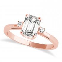 Diamond Emerald Cut Three-Stone Ring 14k Rose Gold (1.04ct)