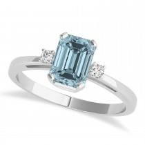Aquamarine Emerald Cut Three-Stone Ring 14k White Gold (1.04ct)