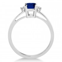 Blue Sapphire Emerald Cut Three-Stone Ring 14k White Gold (1.04ct)