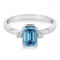 Blue Topaz Emerald Cut Three-Stone Ring 14k White Gold (1.04ct)