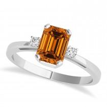 Citrine Emerald Cut Three-Stone Ring 14k White Gold (1.04ct)