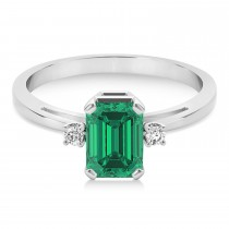 Emerald Emerald Cut Three-Stone Ring 14k White Gold (1.04ct)