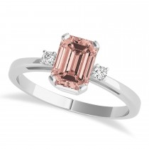Morganite Emerald Cut Three-Stone Ring 14k White Gold (1.04ct)