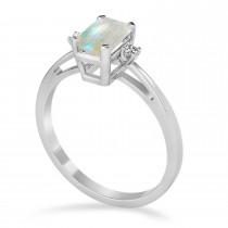 Opal Emerald Cut Three-Stone Ring 14k White Gold (1.04ct)