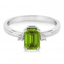 Peridot Emerald Cut Three-Stone Ring 14k White Gold (1.04ct)
