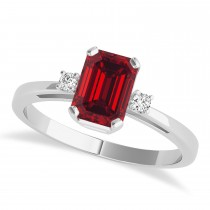 Ruby Emerald Cut Three-Stone Ring 14k White Gold (1.04ct)