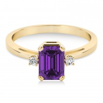 Amethyst Emerald Cut Three-Stone Ring 14k Yellow Gold (1.04ct)