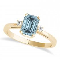 Aquamarine Emerald Cut Three-Stone Ring 14k Yellow Gold (1.04ct)