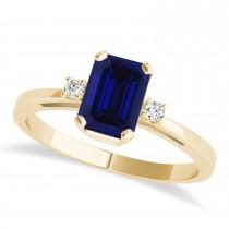 Blue Sapphire Emerald Cut Three-Stone Ring 14k Yellow Gold (1.04ct)