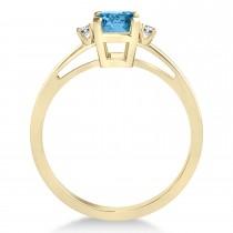 Blue Topaz Emerald Cut Three-Stone Ring 14k Yellow Gold (1.04ct)