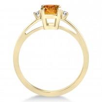 Citrine Emerald Cut Three-Stone Ring 14k Yellow Gold (1.04ct)