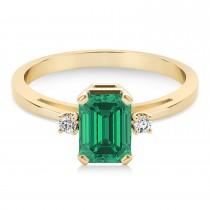 Emerald Emerald Cut Three-Stone Ring 14k Yellow Gold (1.04ct)