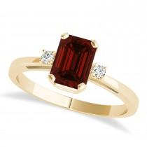 Garnet Emerald Cut Three-Stone Ring 14k Yellow Gold (1.04ct)