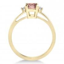 Morganite Emerald Cut Three-Stone Ring 14k Yellow Gold (1.04ct)
