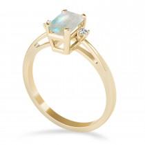 Opal Emerald Cut Three-Stone Ring 14k Yellow Gold (1.04ct)