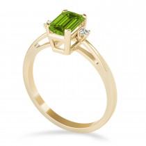 Peridot Emerald Cut Three-Stone Ring 14k Yellow Gold (1.04ct)