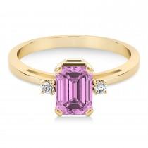 Pink Sapphire Emerald Cut Three-Stone Ring 14k Yellow Gold (1.04ct)