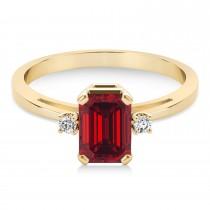 Ruby Emerald Cut Three-Stone Ring 14k Yellow Gold (1.04ct)