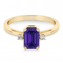 Tanzanite Emerald Cut Three-Stone Ring 14k Yellow Gold (1.04ct)