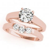 Diamond Solitaire Bridal Set 14k Rose Gold (1.24ct)