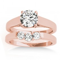 Lucida Solitaire Cathedral Bridal Set 18k Rose Gold (0.24ct)