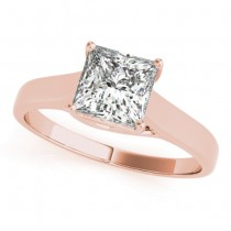 Diamond Princess Cut Solitaire Engagement Ring 18k Rose Gold (1.24ct)