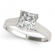 Diamond Princess Cut Solitaire Engagement Ring 18k White Gold (1.24ct)