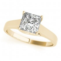 Diamond Princess Cut Solitaire Engagement Ring 18k Yellow Gold (1.24ct)